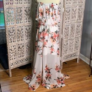 WHBM floral maxi dress with tassel tie waist NWOT